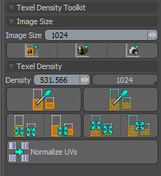 Interface for Texel Density Toolkit