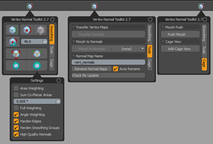 Interface for Vertex Normal Toolkit