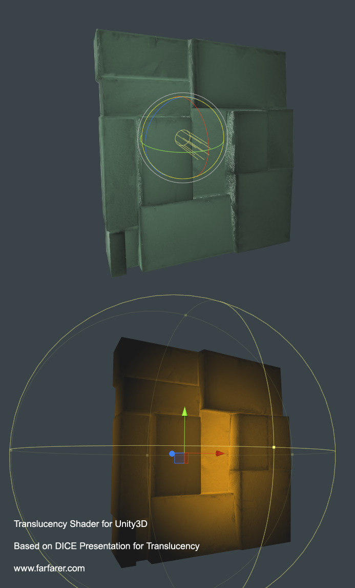 Example of translucency shader in Unity3D.